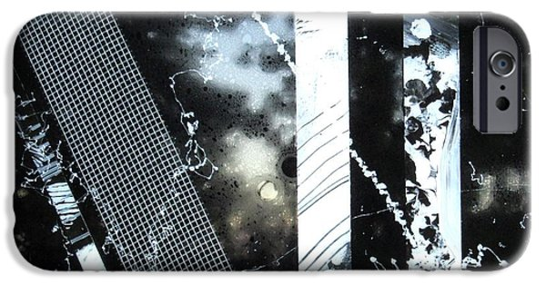 Business Paintings iPhone Cases - Black and White Abstract iPhone Case by Louise Adams