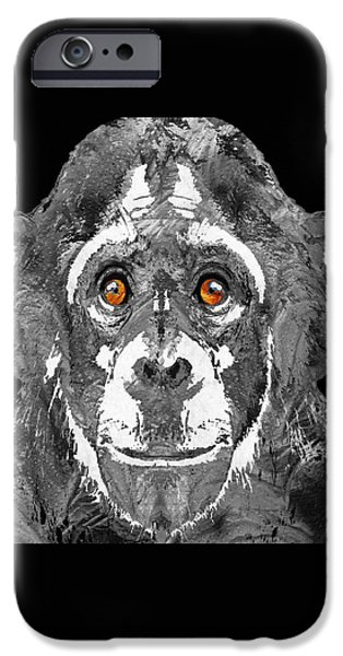 Ape iPhone Cases - Black And White Art - Monkey Business 2 - By Sharon Cummings iPhone Case by Sharon Cummings