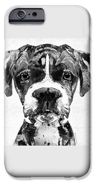 Black Dog iPhone Cases - Black And White Boxer Dog Art By Sharon Cummings  iPhone Case by Sharon Cummings