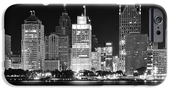 Harts iPhone Cases - Black and White Detroit Night iPhone Case by Frozen in Time Fine Art Photography