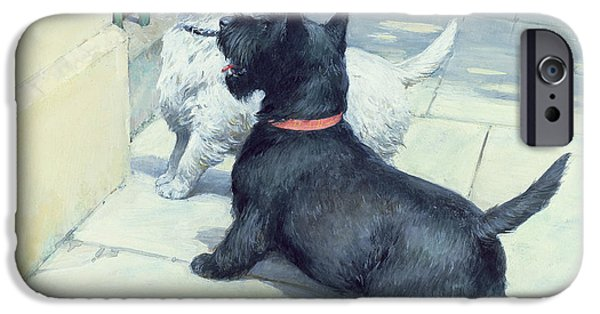 Best Friend iPhone Cases - Black and White Dogs iPhone Case by Septimus Edwin Scott
