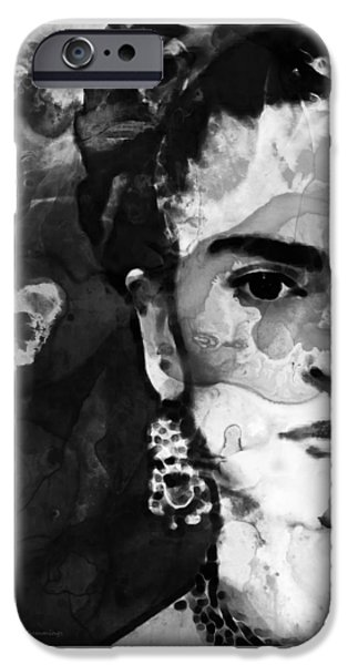 Ultra Modern iPhone Cases - Black And White Frida Kahlo by Sharon Cummings iPhone Case by Sharon Cummings