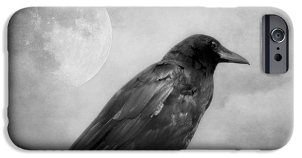 Crows iPhone Cases - Black and White Gothic Crow Raven Art iPhone Case by Melissa Bittinger