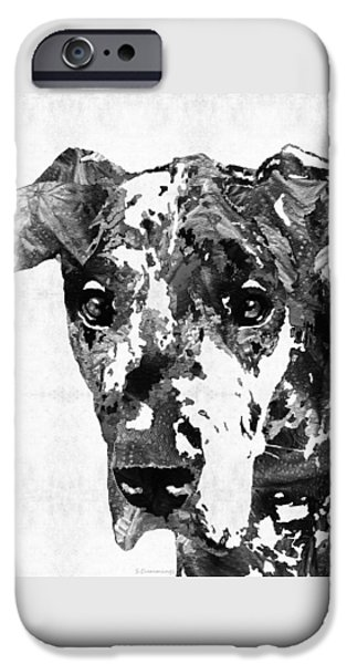 Black Dog iPhone Cases - Black And White Great Dane Art Dog By Sharon Cummings iPhone Case by Sharon Cummings