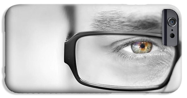 Seductive iPhone Cases - Black and White Half Portrait of Man Green Eye iPhone Case by Nebojsa Markovic