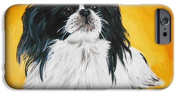 Japanese Chin Puppy iPhone Cases - Black and White Japanese Chin Japanese Spaniel iPhone Case by Nicole Chen