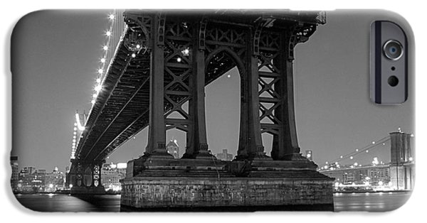 Gary Heller iPhone Cases - Black and White - Manhattan bridge at night iPhone Case by Gary Heller
