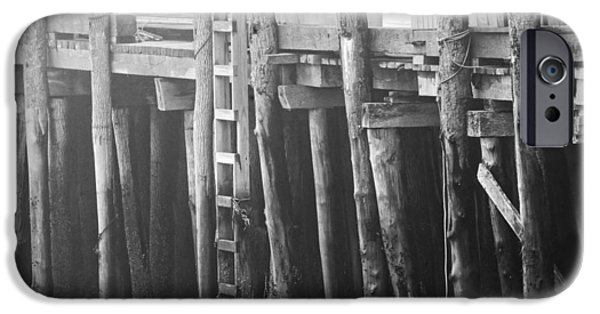 Maine iPhone Cases - Black and White of Fog And Dock At Low Tide On Coast Of Maine iPhone Case by Keith Webber Jr