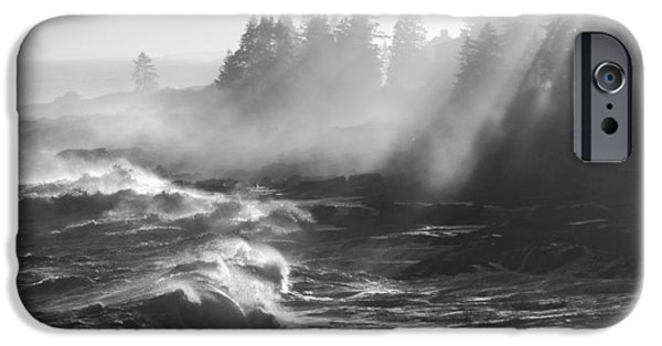 Maine iPhone Cases - Black and White of Large Waves Lightbeams Pemaquid Point Maine iPhone Case by Keith Webber Jr