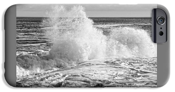 Maine iPhone Cases - Black and White of Large Waves On Rocky of Coast Of Maine iPhone Case by Keith Webber Jr