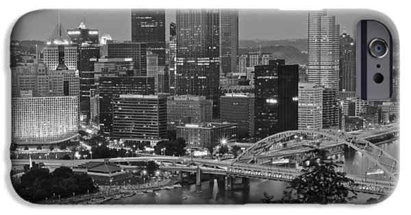 Roberto Clemente iPhone Cases - Black and White of Pittsburgh iPhone Case by Frozen in Time Fine Art Photography