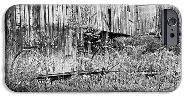 Maine Barns iPhone Cases - Black and White Old Barn In Maine iPhone Case by Keith Webber Jr
