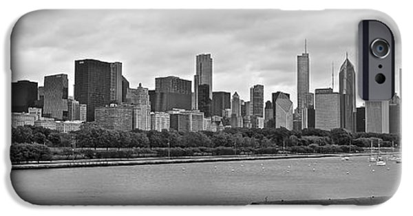 Chicago Cubs iPhone Cases - Black and White Panorama of Chicago iPhone Case by Frozen in Time Fine Art Photography
