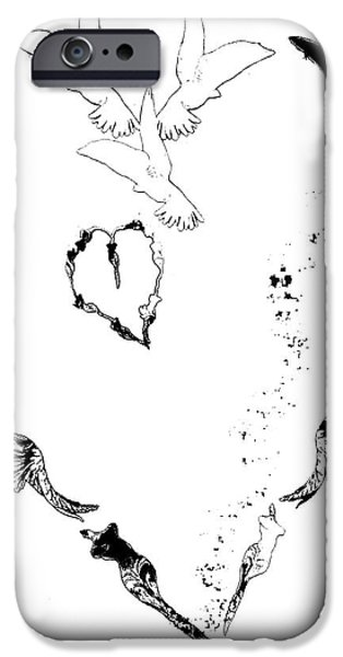 Baby Bird Mixed Media iPhone Cases - Black and White Peace Heart iPhone Case by ArtyZen Home - ArtyZen Studios