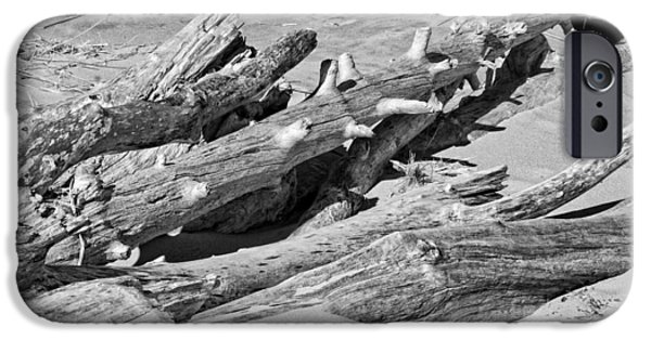 Cracks Digital Art iPhone Cases - Black and White Photo of Driftwood and Sand on Popham Beach on the Coast of  iPhone Case by Keith Webber Jr