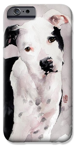 Pit Bull iPhone Cases - Black and White Pit iPhone Case by Debra Jones