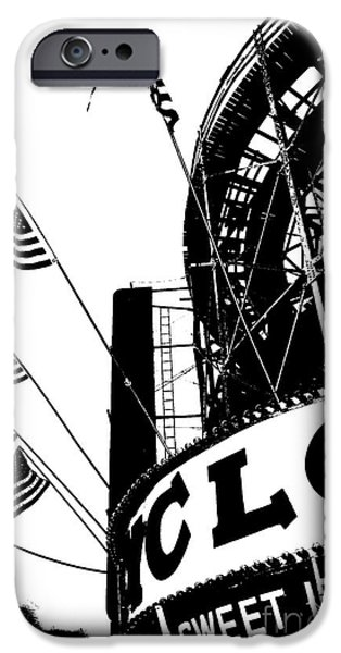 Juvenile Wall Decor iPhone Cases - Black and White Roller Coaster Cyclone iPhone Case by ArtyZen Studios - ArtyZen Home