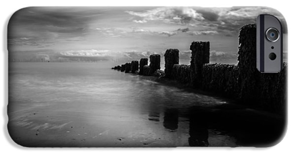 North Sea Photographs iPhone Cases - Black and White Seascape iPhone Case by Martin Newman