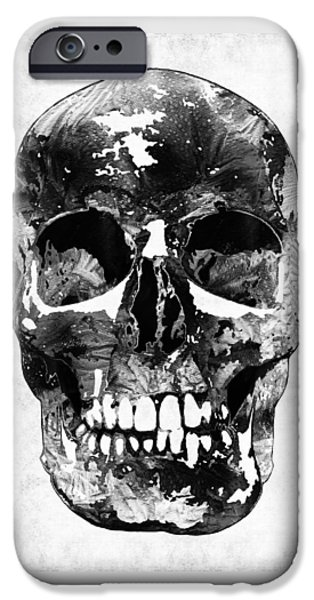 Macabre iPhone Cases - Black And White Skull by Sharon Cummings iPhone Case by Sharon Cummings