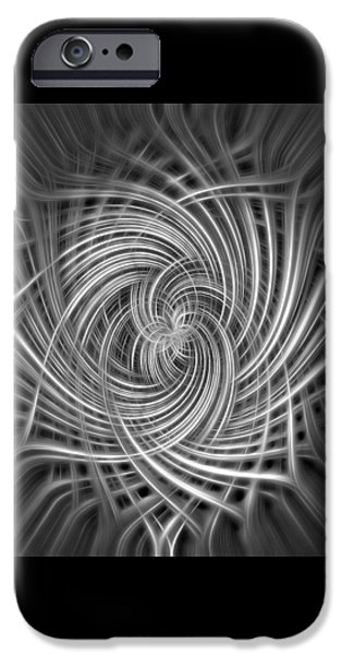 Graphic Design iPhone Cases - Black and White Twist Abstract iPhone Case by Terry DeLuco