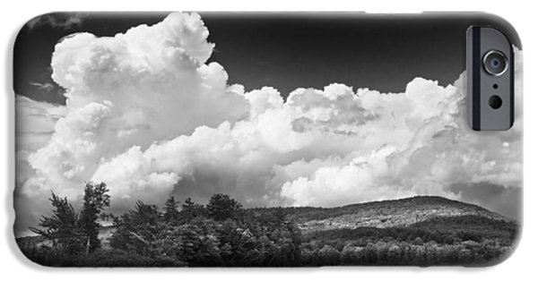 Maine iPhone Cases - Black And white Vienna Maine Flying Pond With Storm Clouds Fine Art Print iPhone Case by Keith Webber Jr
