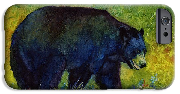 Black Bear iPhone Cases - Black Bear iPhone Case by Hailey E Herrera