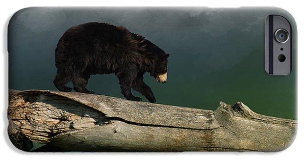 Tree iPhone Cases - Black Bear iPhone Case by Sheela Ajith