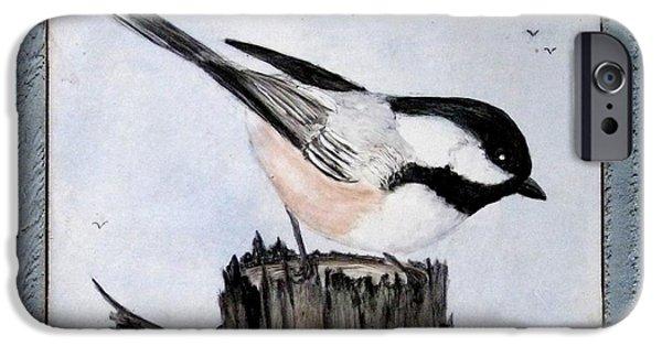 Sky Ceramics iPhone Cases - Black-capped Chickadee Trivet iPhone Case by Sandra Maddox