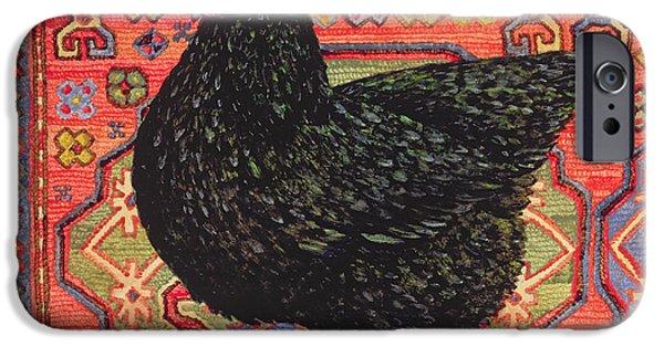 Persian Carpet iPhone Cases - Black Carpet Chicken iPhone Case by Ditz