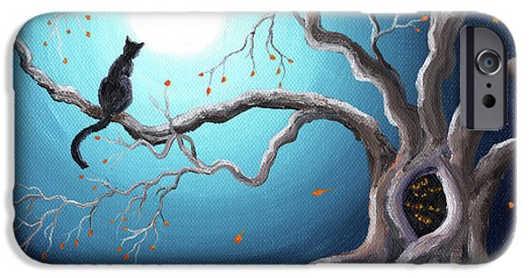 Outsider iPhone Cases - Black Cat in a Haunted Tree iPhone Case by Laura Iverson