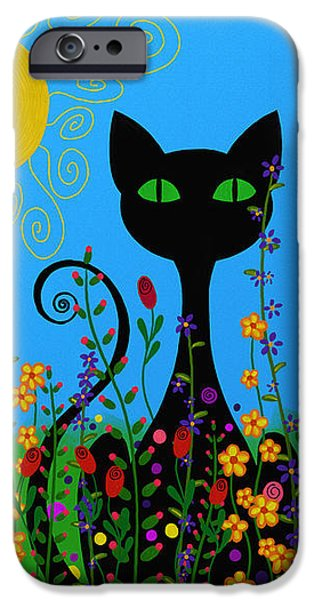 Floral Digital Art Digital Art iPhone Cases - Black Cat In Flowers iPhone Case by Sharon Norman