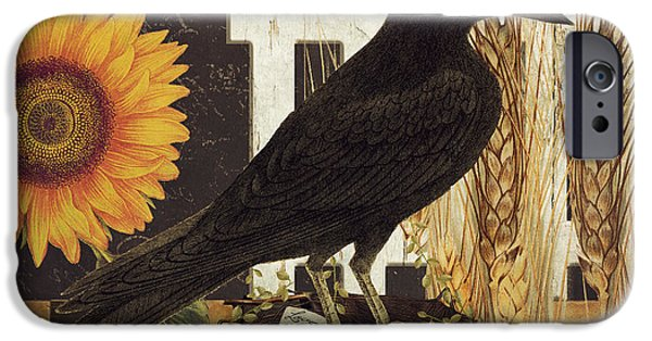 Rural Art iPhone Cases - Black Crow Farms iPhone Case by Mindy Sommers
