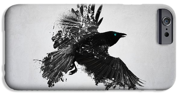 Abstract Digital Drawings iPhone Cases - Black Crow  iPhone Case by Teun Van der Beek