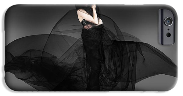 Gray Hair iPhone Cases - Black Fashion The Dark Movement In Motion iPhone Case by Ryan Jorgensen