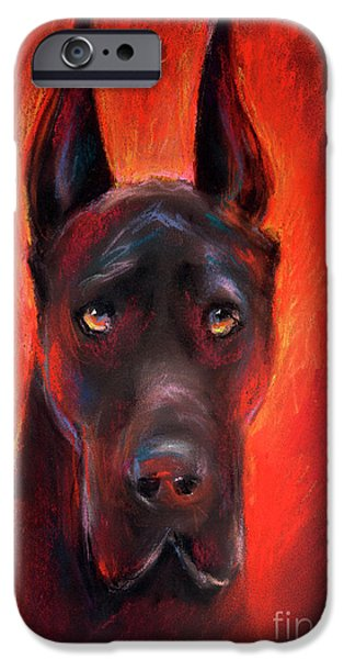Black Portrait Drawings iPhone Cases - Black Great Dane dog painting iPhone Case by Svetlana Novikova