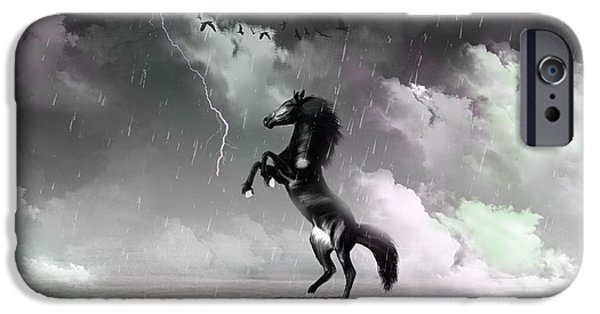 Freedom iPhone Cases - Black Horse iPhone Case by Levent Sezgin