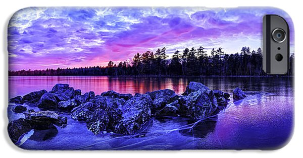 Winter iPhone Cases - Black Ice at Twilight Panorama iPhone Case by Bill Caldwell -        ABeautifulSky Photography