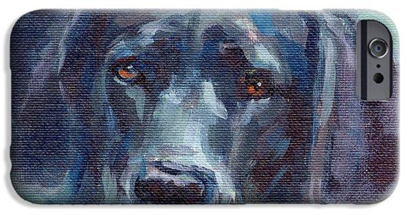 Black Dog iPhone Cases - Black Lab Bandit iPhone Case by Kimberly Santini