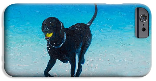 Lab Print iPhone Cases - Black Labrador painting iPhone Case by Jan Matson