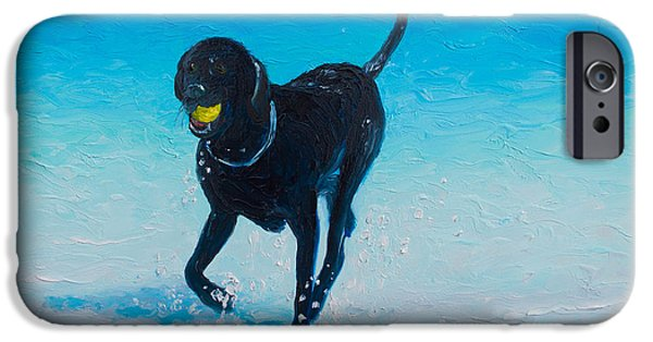 Black Dog iPhone Cases - Black Labrador painting iPhone Case by Jan Matson