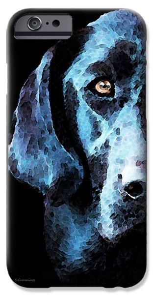 Hunter iPhone Cases - Black Labrador Retriever Dog Art - Hunter iPhone Case by Sharon Cummings