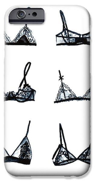 Dressing Room Paintings iPhone Cases - Black Lace Bralettes iPhone Case by Laura Row
