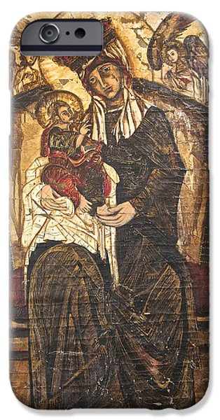 Plaster Tapestries - Textiles iPhone Cases - Black Madonna iPhone Case by Jooj Hooker
