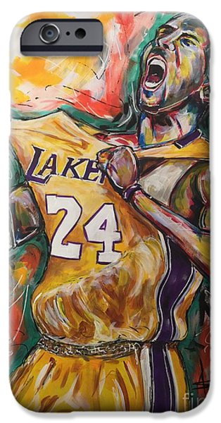 Kobe Paintings iPhone Cases - Black Mamba iPhone Case by  Artist Ahmed Salam