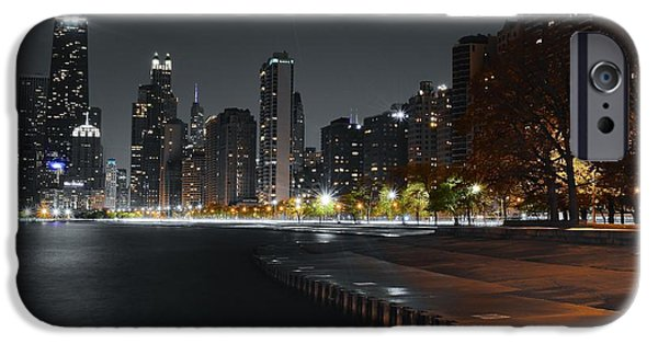 Sears Tower iPhone Cases - Black Night in Chicago iPhone Case by Frozen in Time Fine Art Photography