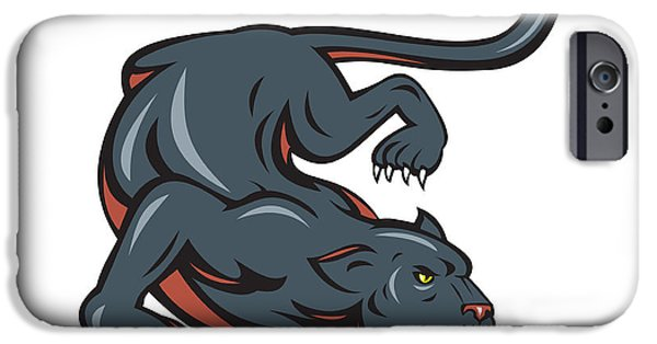 Panther Digital iPhone Cases - Black Panther Crouching Cartoon iPhone Case by Aloysius Patrimonio