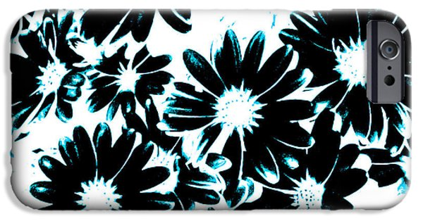 Abstract Digital Art iPhone Cases - Black Petals With Sprinkles of Teal Turquoise iPhone Case by Heather Joyce Morrill