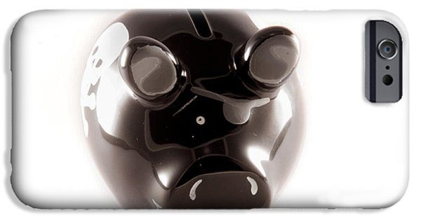 Business iPhone Cases - Black piggy bank iPhone Case by Daniel Ronneberg