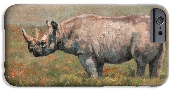 Rhino iPhone Cases - Black Rhino iPhone Case by David Stribbling