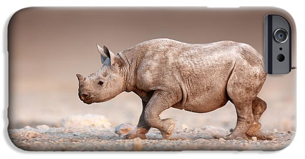 Reserve iPhone Cases - Black Rhinoceros baby running iPhone Case by Johan Swanepoel